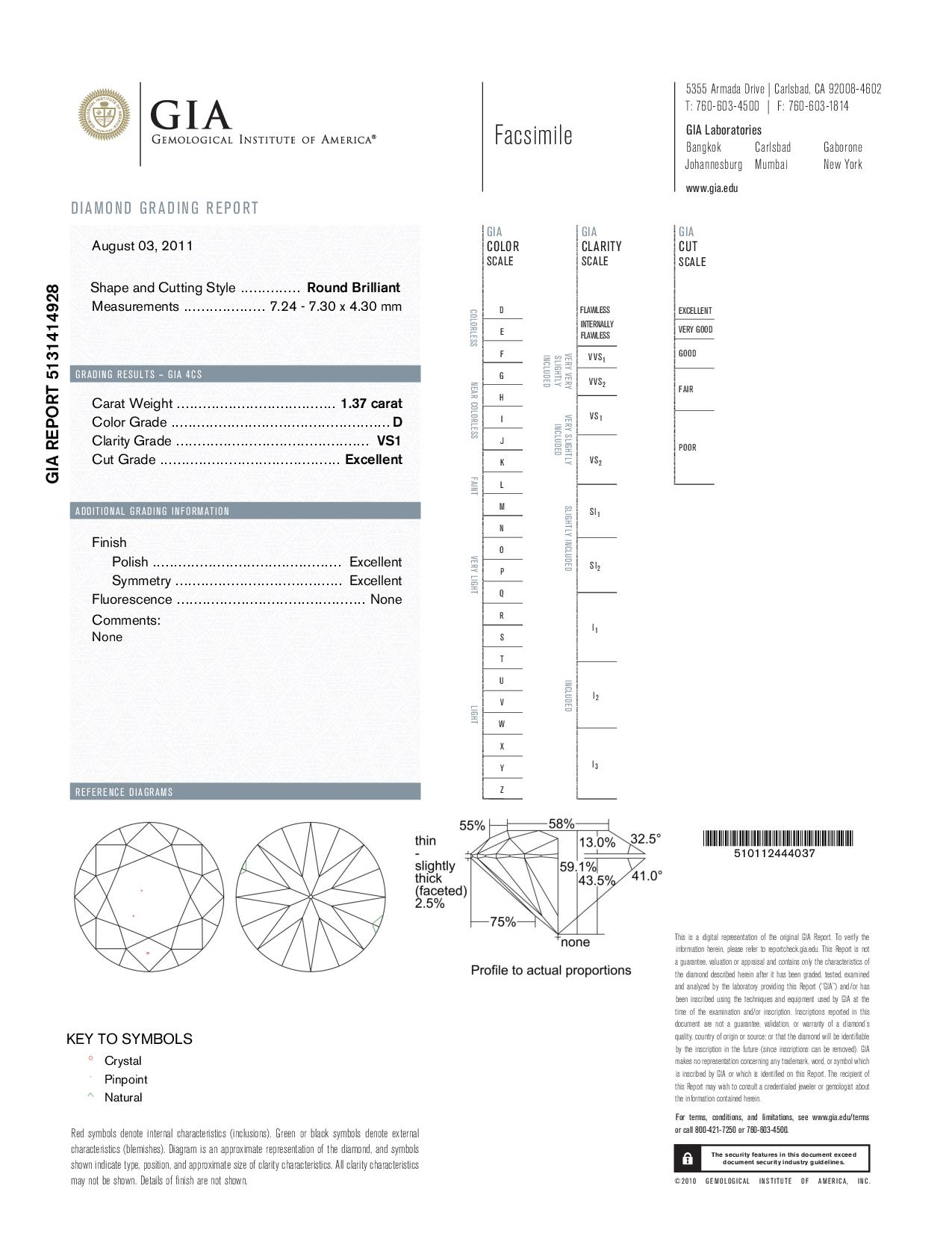 This is a 1.37 carat round shape, D color, VS1 clarity natural diamond accompanied by a GIA grading report.