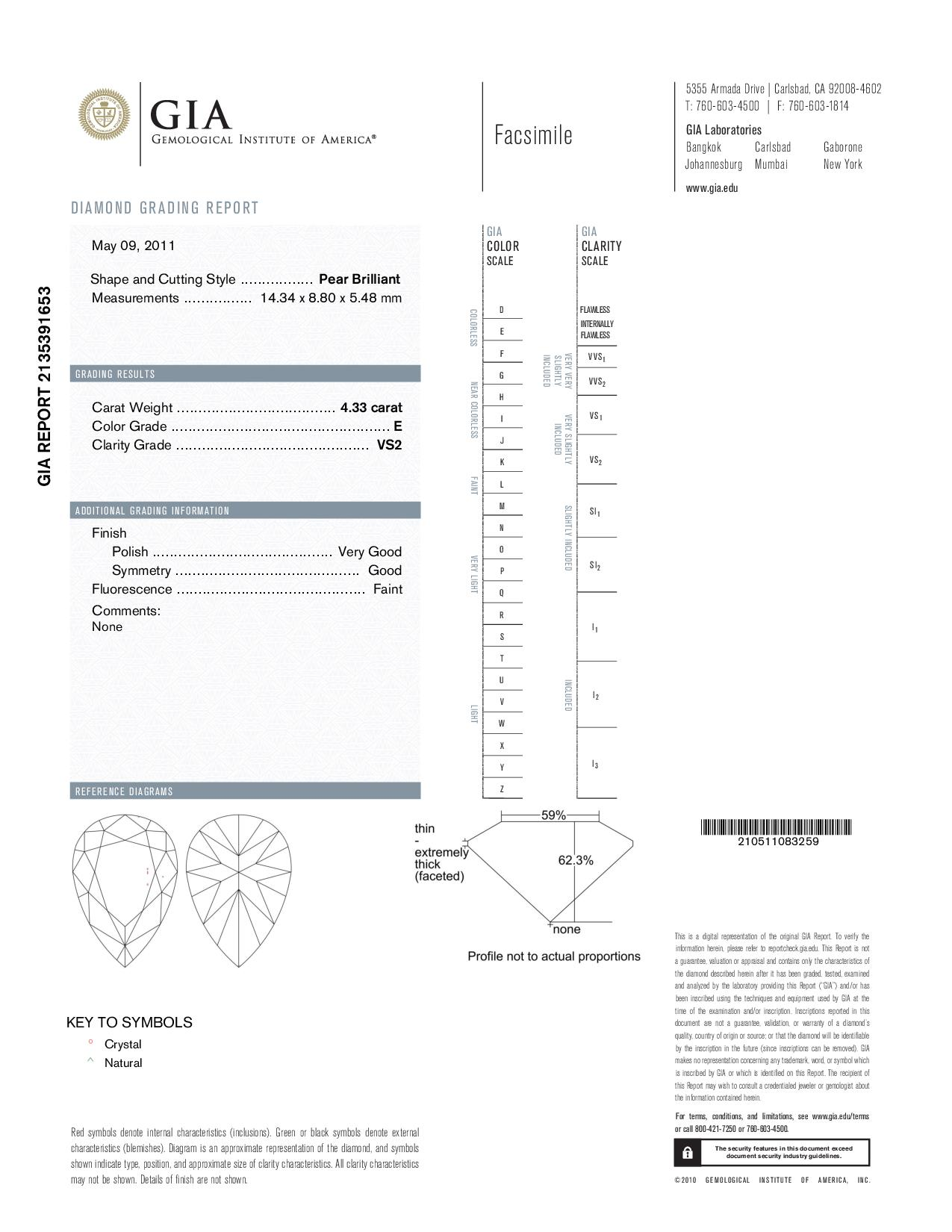 This is a 4.33 carat pear shape, E color, VS2 clarity natural diamond accompanied by a GIA grading report.