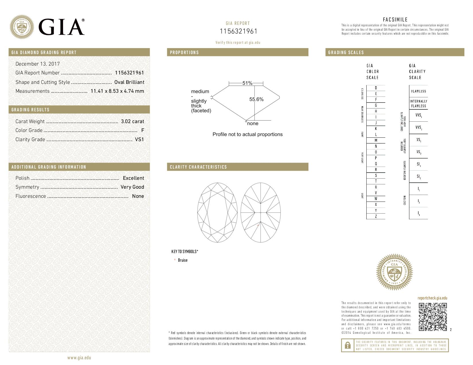 This is a 3.02 carat oval shape, F color, VS1 clarity natural diamond accompanied by a GIA grading report.