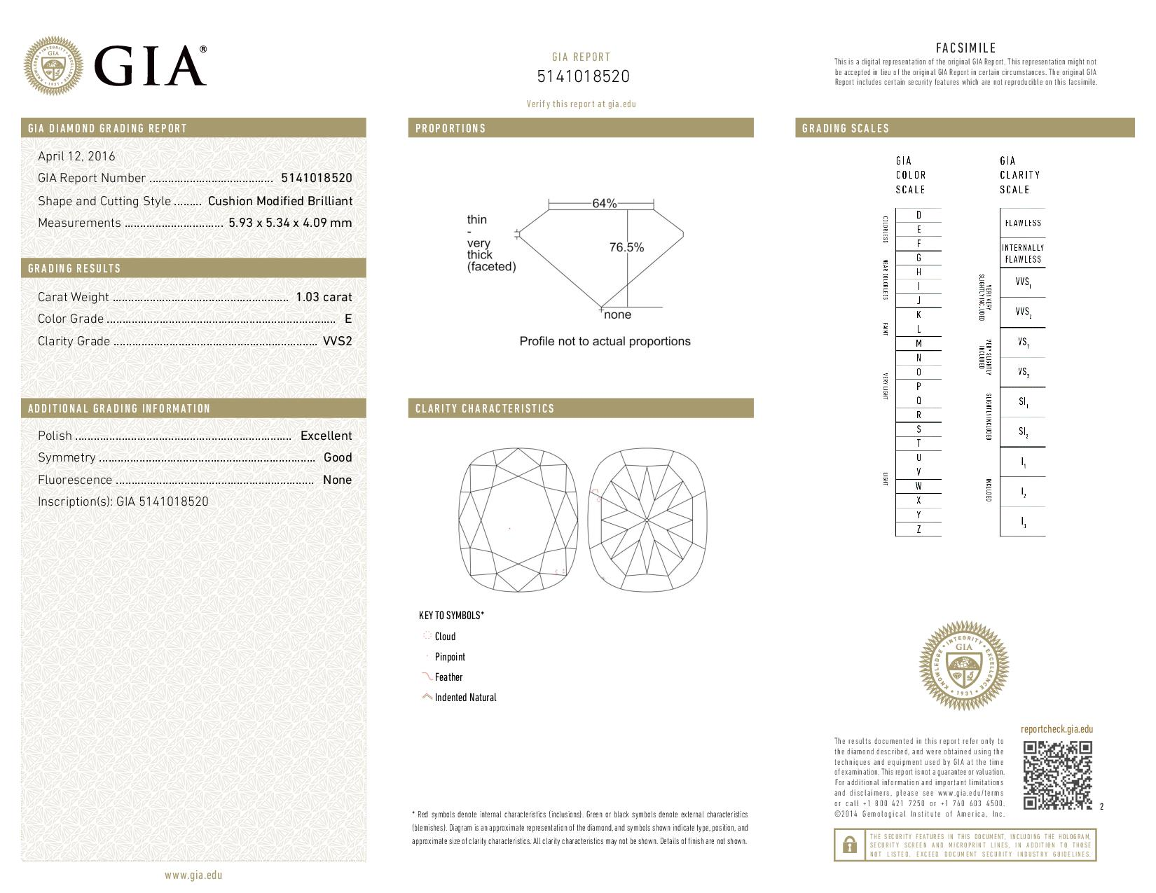 This is a 1.03 carat cushion shape, E color, VVS2 clarity natural diamond accompanied by a GIA grading report.