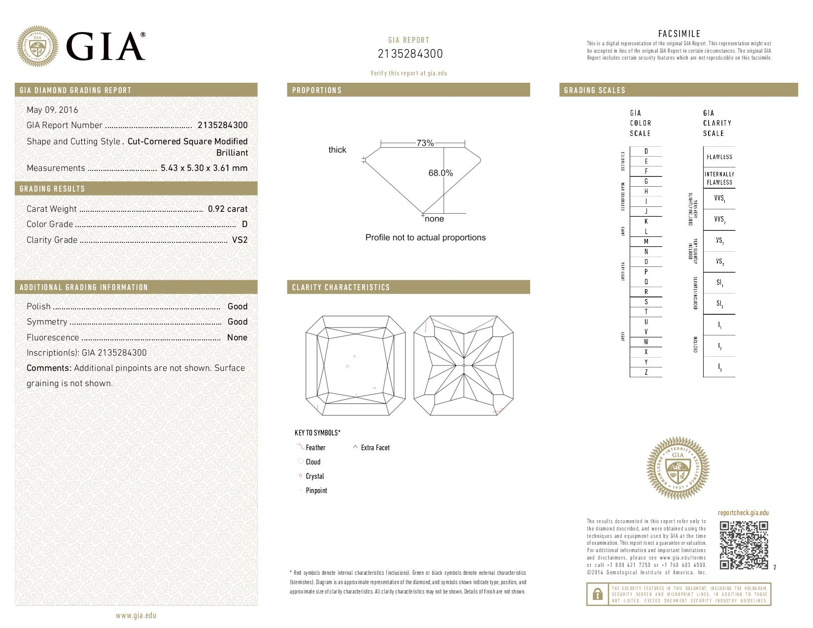 This is a 0.92 carat radiant shape, D color, VS2 clarity natural diamond accompanied by a GIA grading report.