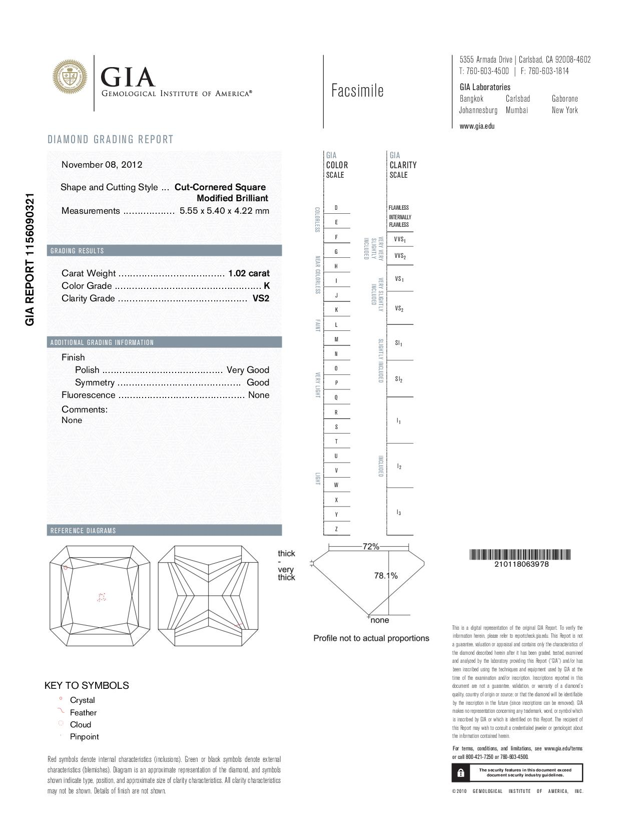 This is a 1.02 carat radiant shape, K color, VS2 clarity natural diamond accompanied by a GIA grading report.