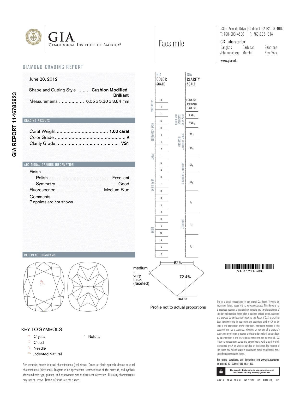 This is a 1.03 carat cushion shape, K color, VS1 clarity natural diamond accompanied by a GIA grading report.