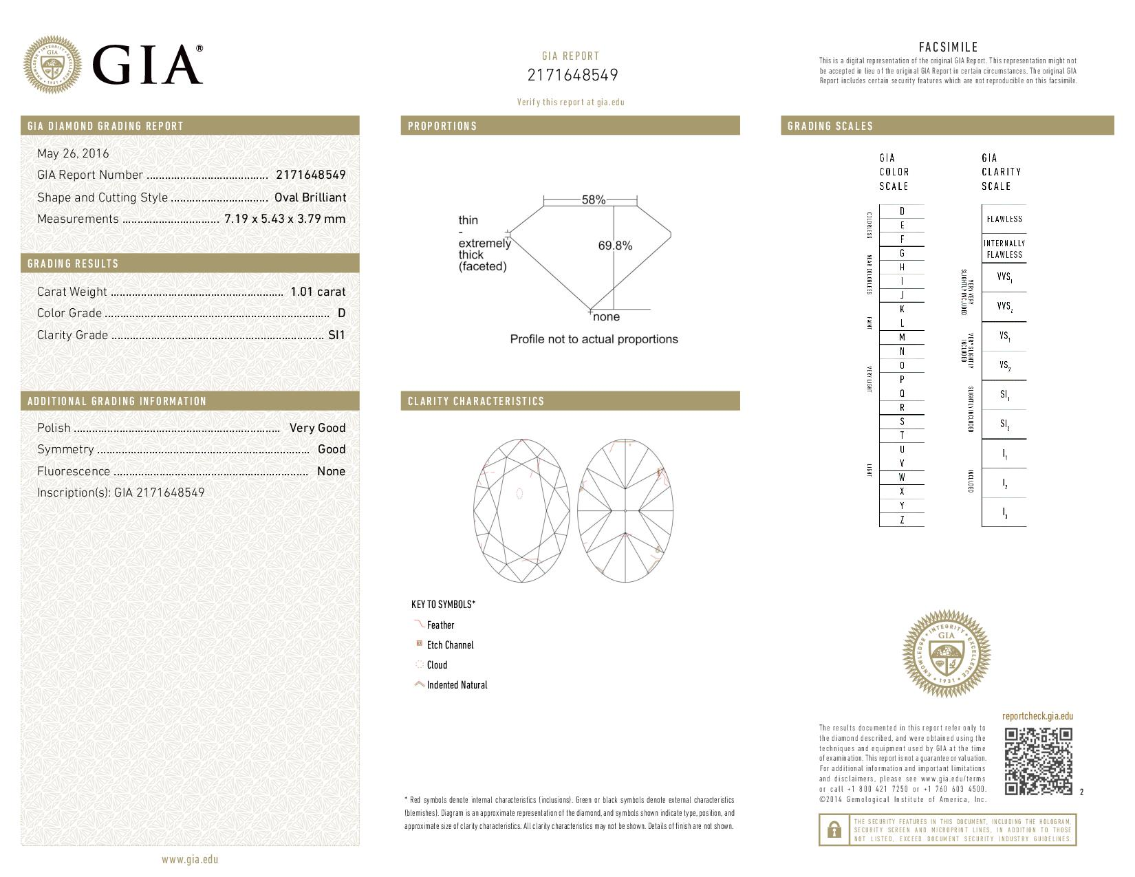 This is a 1.01 carat oval shape, D color, SI1 clarity natural diamond accompanied by a GIA grading report.