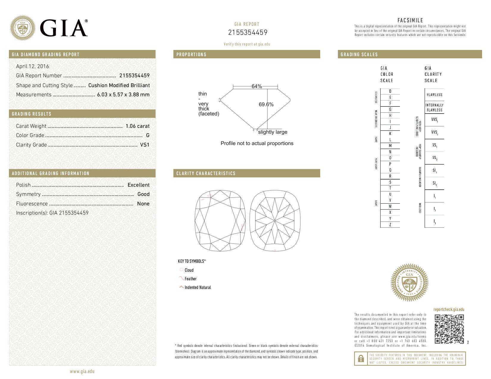 This is a 1.06 carat cushion shape, G color, VS1 clarity natural diamond accompanied by a GIA grading report.