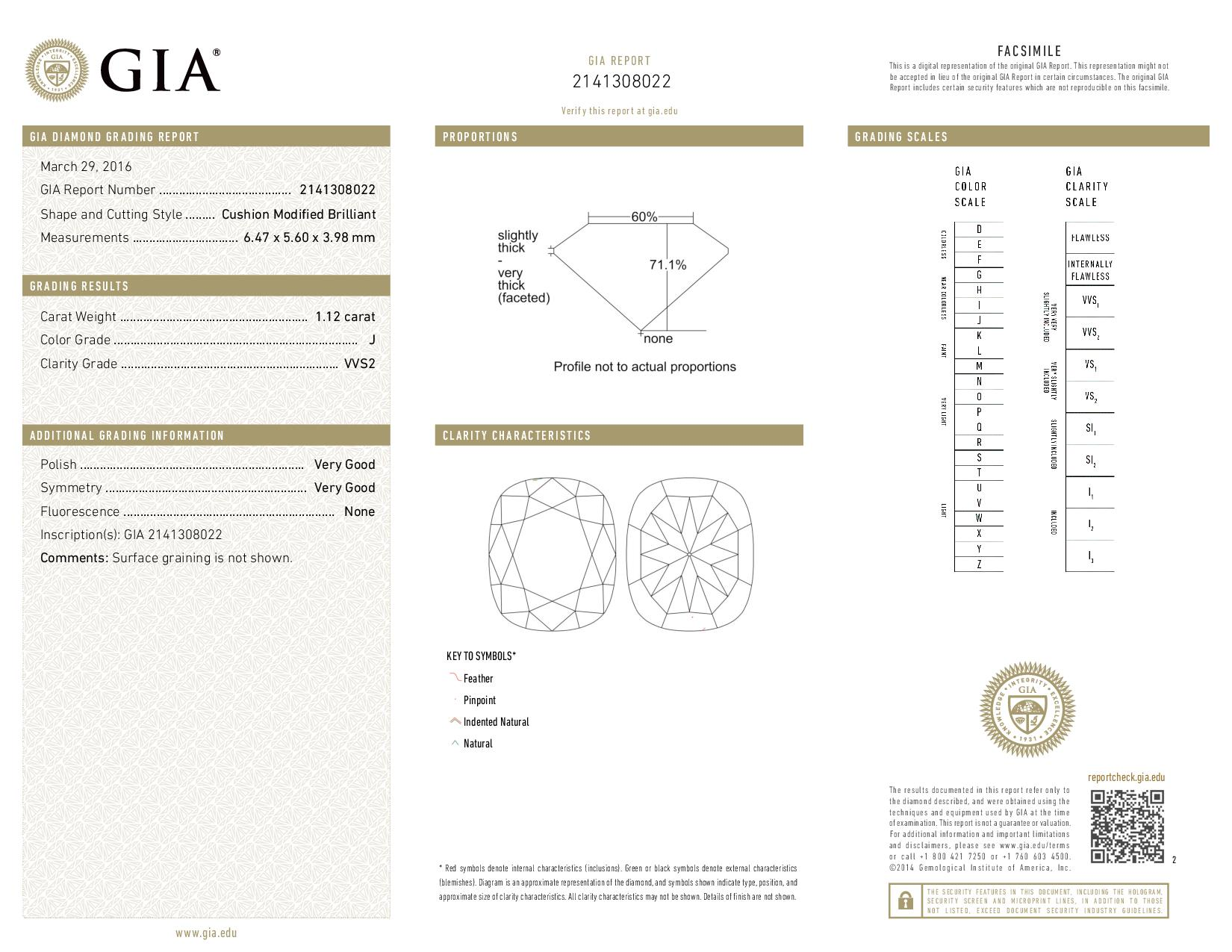 This is a 1.12 carat cushion shape, J color, VVS2 clarity natural diamond accompanied by a GIA grading report.