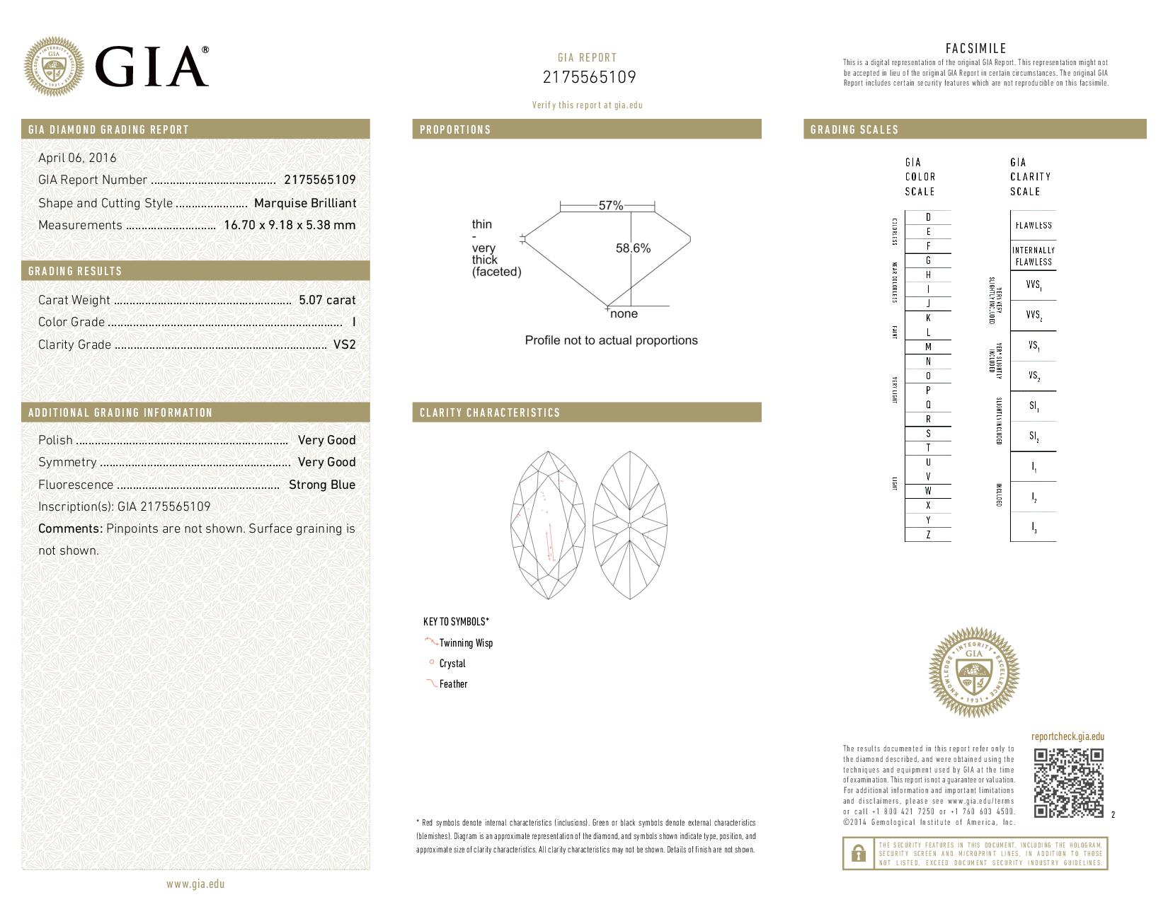 This is a 5.03 carat marquise shape, H color, VS2 clarity natural diamond accompanied by a GIA grading report.