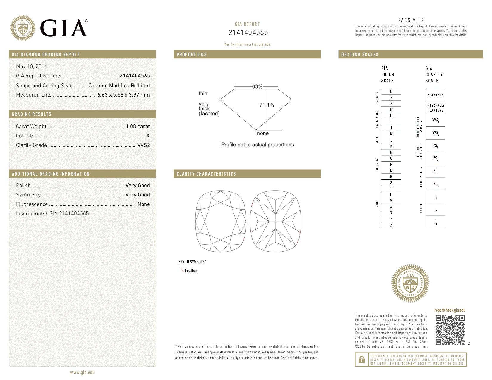 This is a 1.08 carat cushion shape, K color, VVS2 clarity natural diamond accompanied by a GIA grading report.