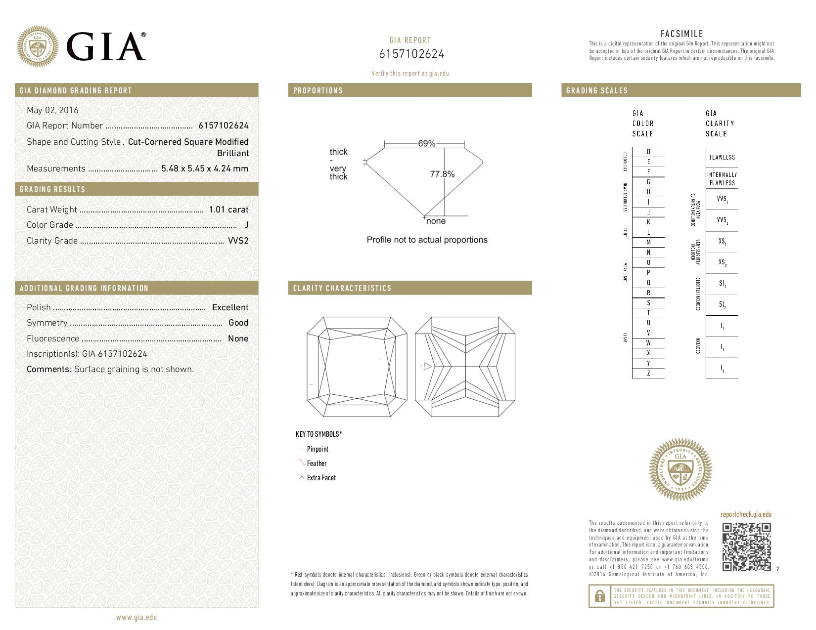 This is a 1.01 carat radiant shape, J color, VVS2 clarity natural diamond accompanied by a GIA grading report.