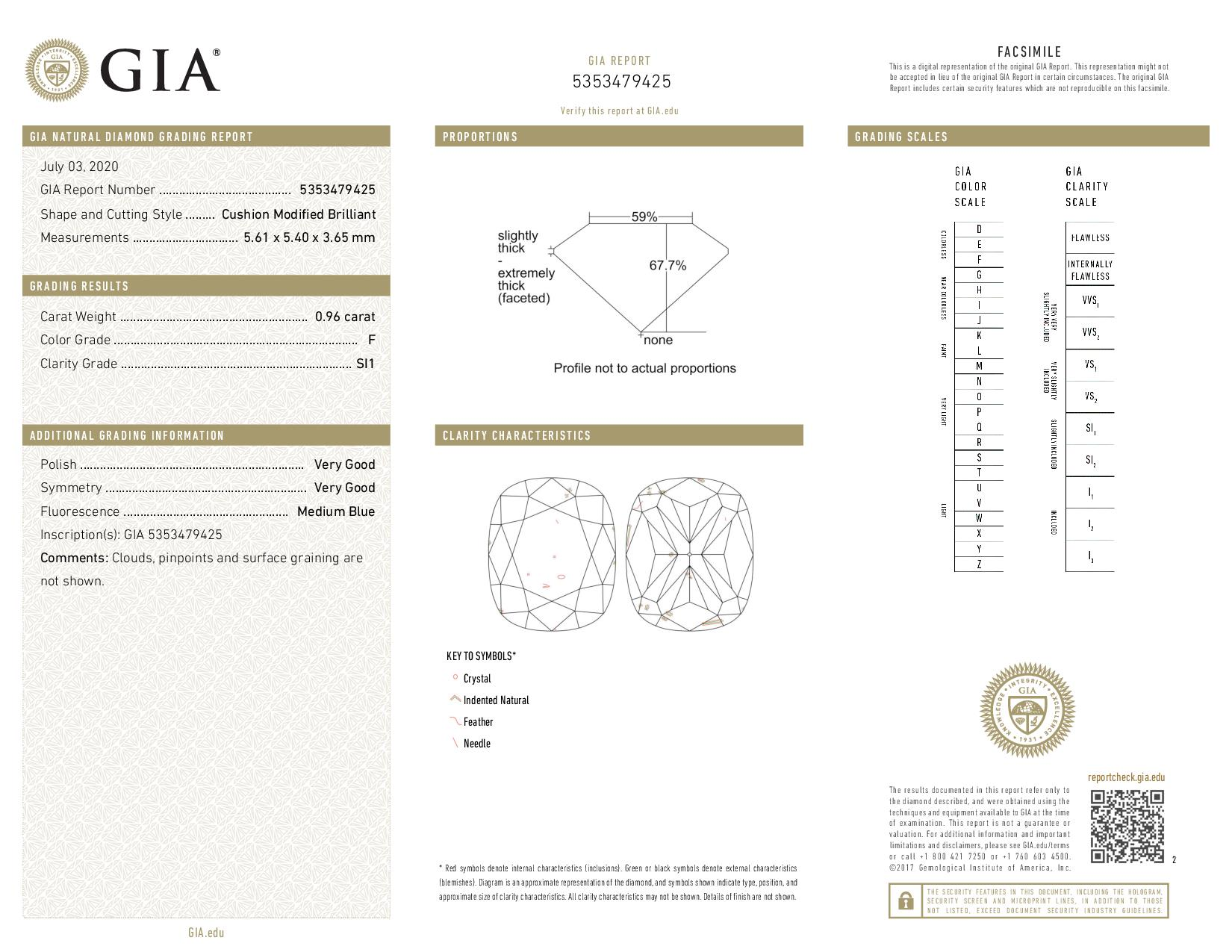 This is a 0.96 carat cushion shape, F color, SI1 clarity natural diamond accompanied by a GIA grading report.