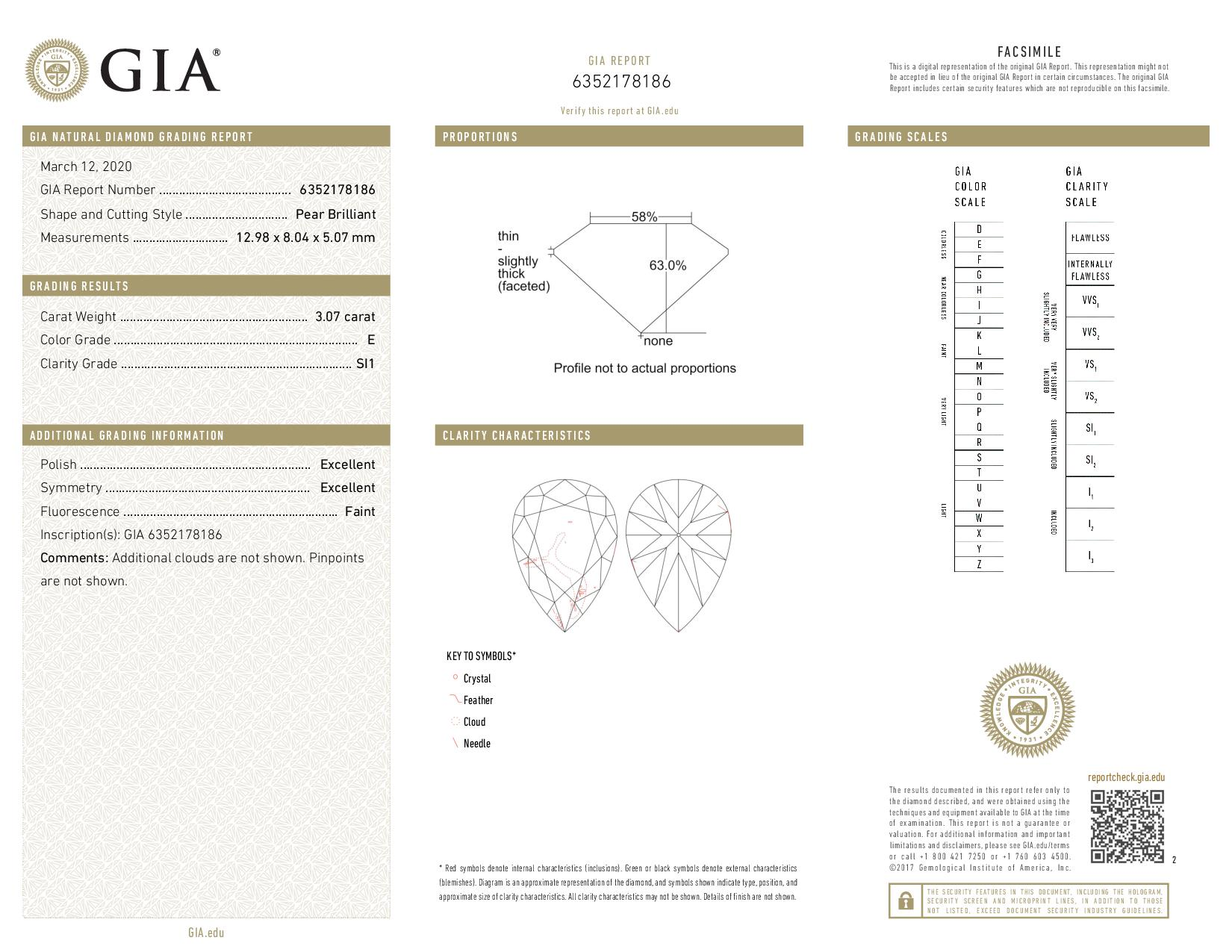 This is a 3.07 carat pear shape, E color, SI1 clarity natural diamond accompanied by a GIA grading report.