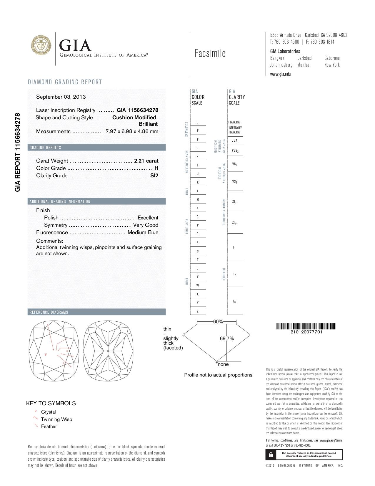 This is a 2.21 carat cushion shape, H color, SI2 clarity natural diamond accompanied by a GIA grading report.