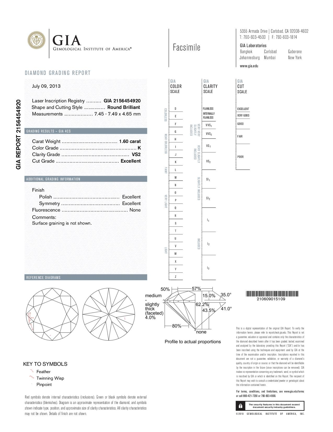 This is a 1.60 carat round shape, K color, VS2 clarity natural diamond accompanied by a GIA grading report.