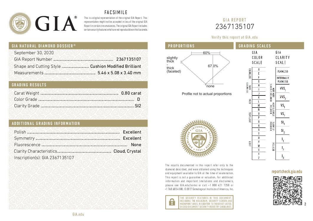 This is a 0.80 carat cushion shape, D color, SI2 clarity natural diamond accompanied by a GIA grading report.