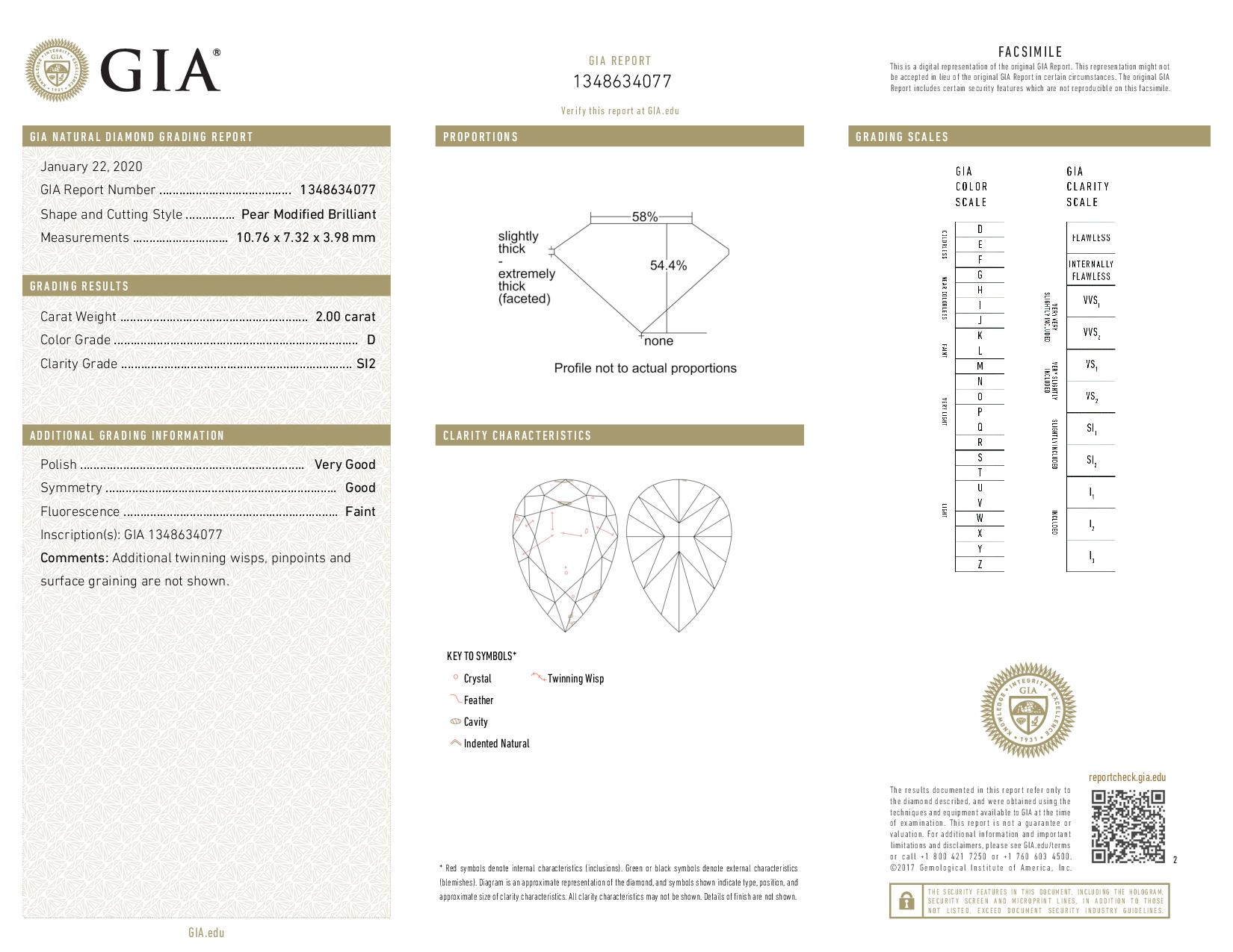 This is a 2.00 carat pear shape, D color, SI2 clarity natural diamond accompanied by a GIA grading report.