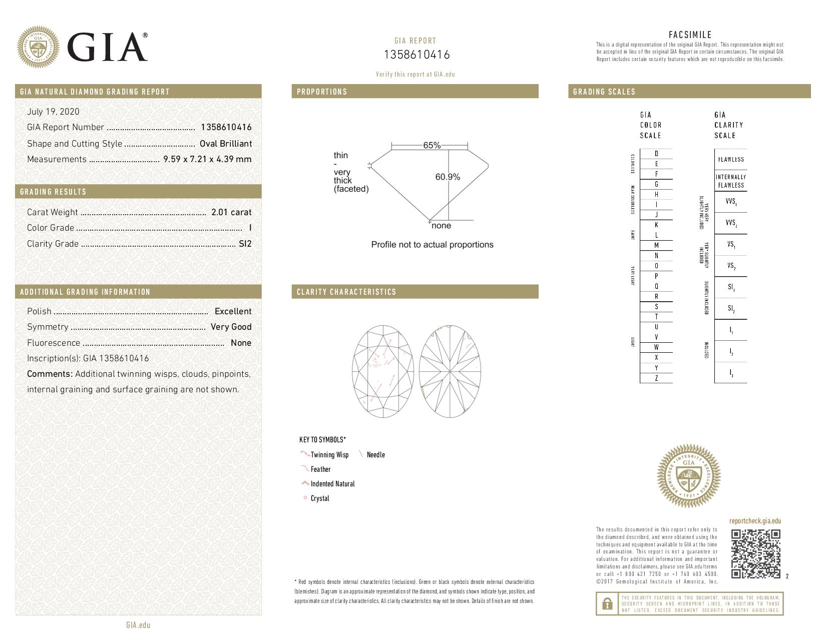This is a 2.01 carat oval shape, I color, SI2 clarity natural diamond accompanied by a GIA grading report.
