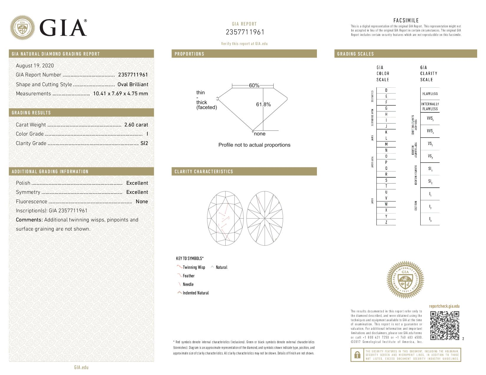 This is a 2.60 carat oval shape, I color, SI2 clarity natural diamond accompanied by a GIA grading report.