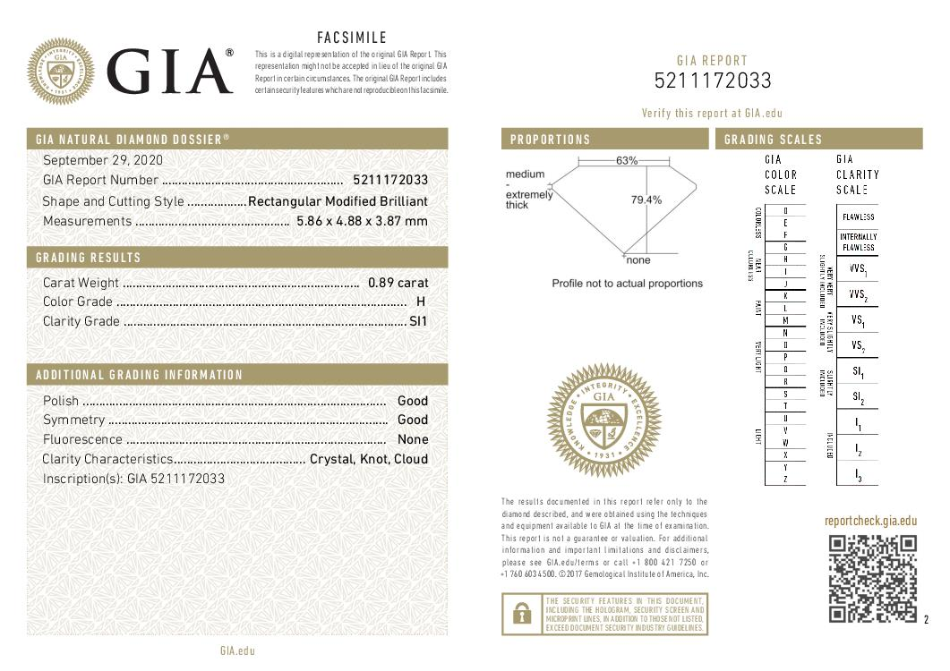 This is a 0.89 carat princess shape, H color, SI1 clarity natural diamond accompanied by a GIA grading report.