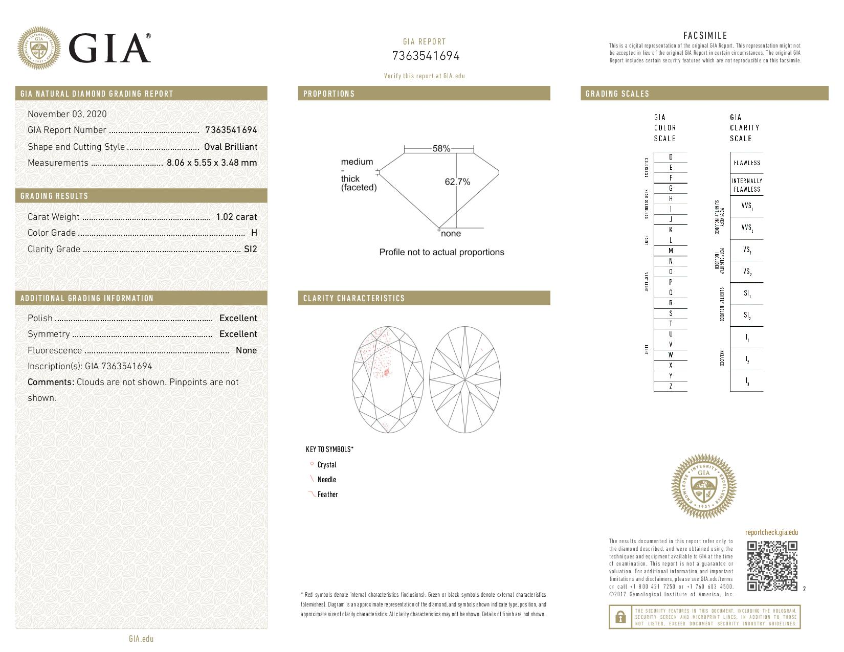This is a 1.02 carat oval shape, H color, SI2 clarity natural diamond accompanied by a GIA grading report.