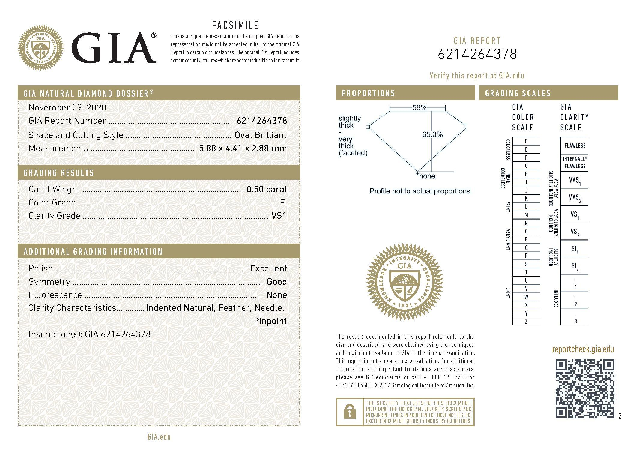 This is a 0.50 carat oval shape, F color, VS1 clarity natural diamond accompanied by a GIA grading report.