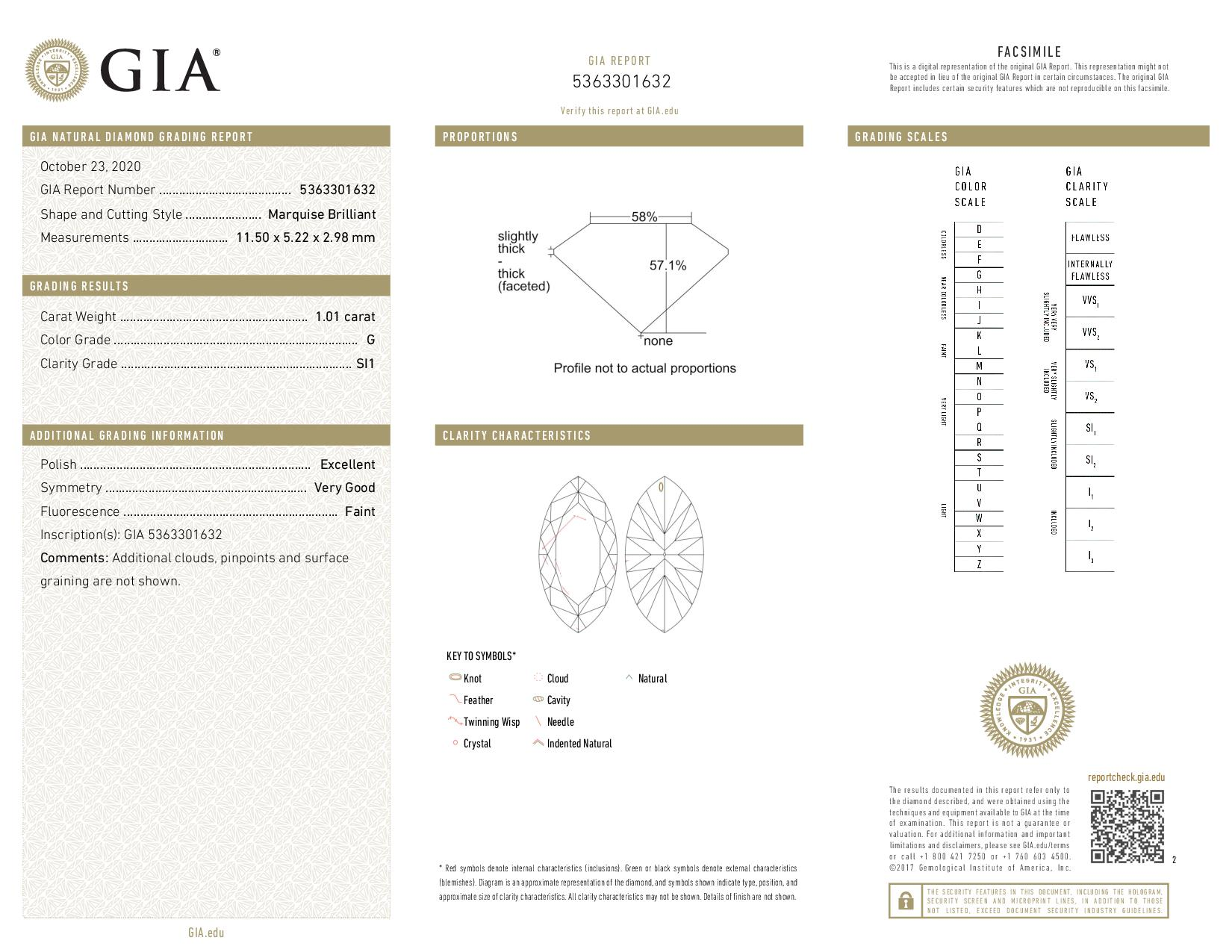 This is a 1.01 carat marquise shape, G color, SI1 clarity natural diamond accompanied by a GIA grading report.