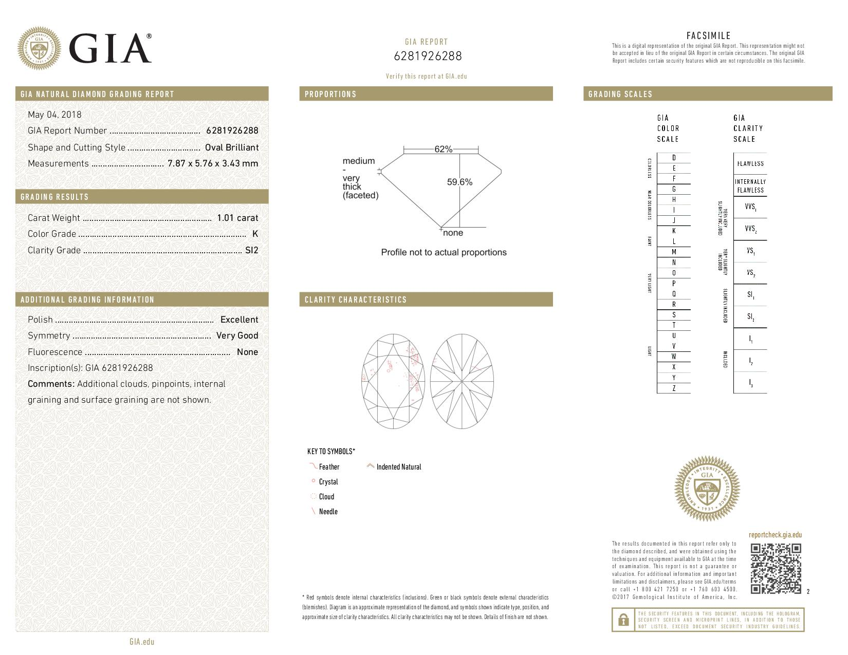 This is a 1.01 carat oval shape, K color, SI2 clarity natural diamond accompanied by a GIA grading report.
