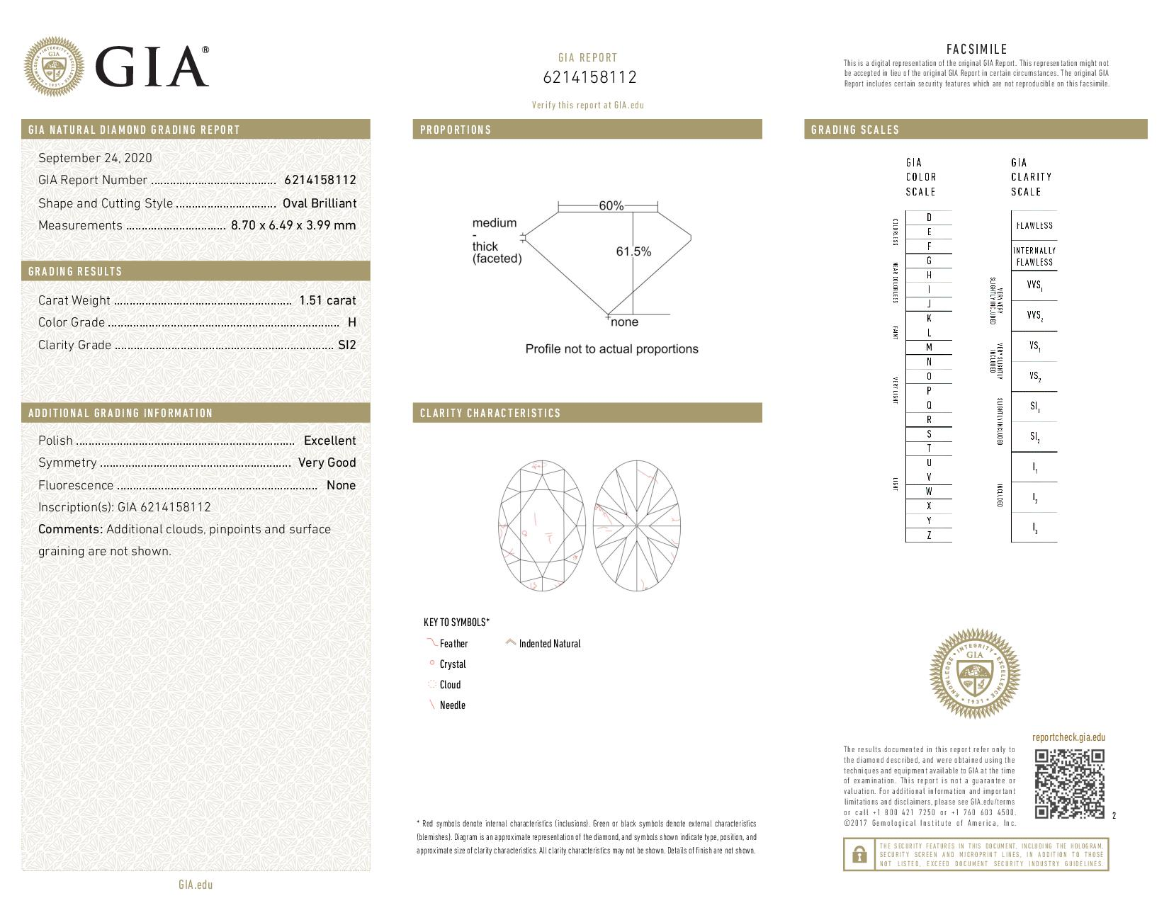 This is a 1.51 carat oval shape, H color, SI2 clarity natural diamond accompanied by a GIA grading report.