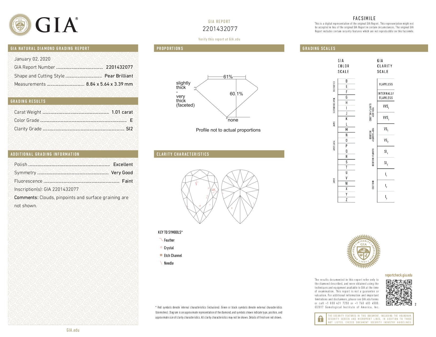 This is a 1.01 carat pear shape, E color, SI2 clarity natural diamond accompanied by a GIA grading report.