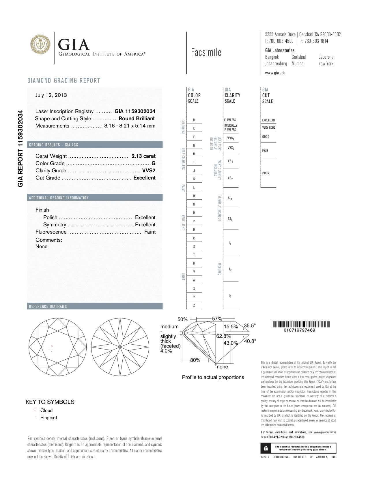 This is a 2.13 carat round shape, G color, VVS2 clarity natural diamond accompanied by a GIA grading report.
