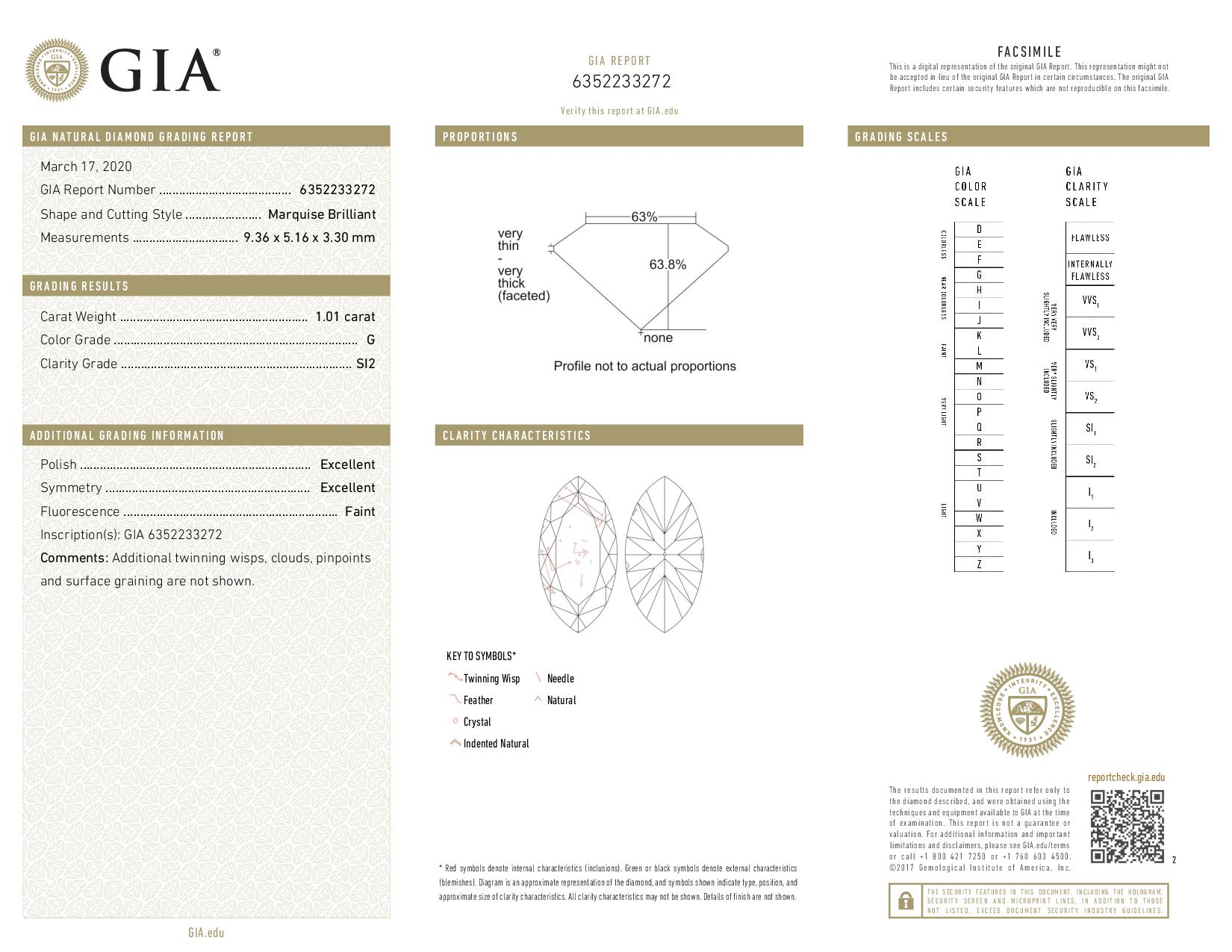 This is a 1.01 carat marquise shape, G color, SI2 clarity natural diamond accompanied by a GIA grading report.