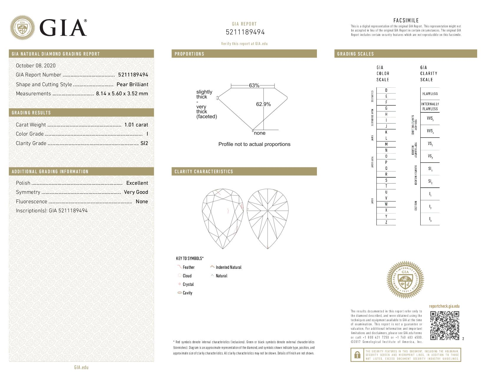 This is a 1.01 carat pear shape, I color, SI2 clarity natural diamond accompanied by a GIA grading report.