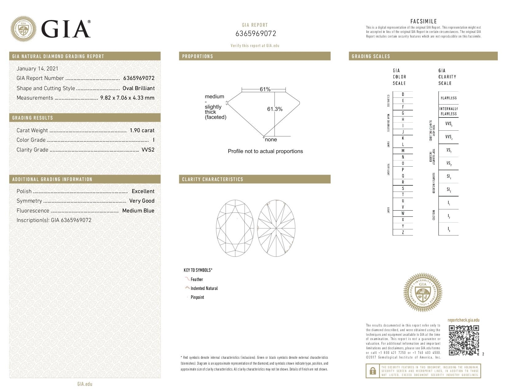This is a 1.90 carat oval shape, I color, VS1 clarity natural diamond accompanied by a GIA grading report.