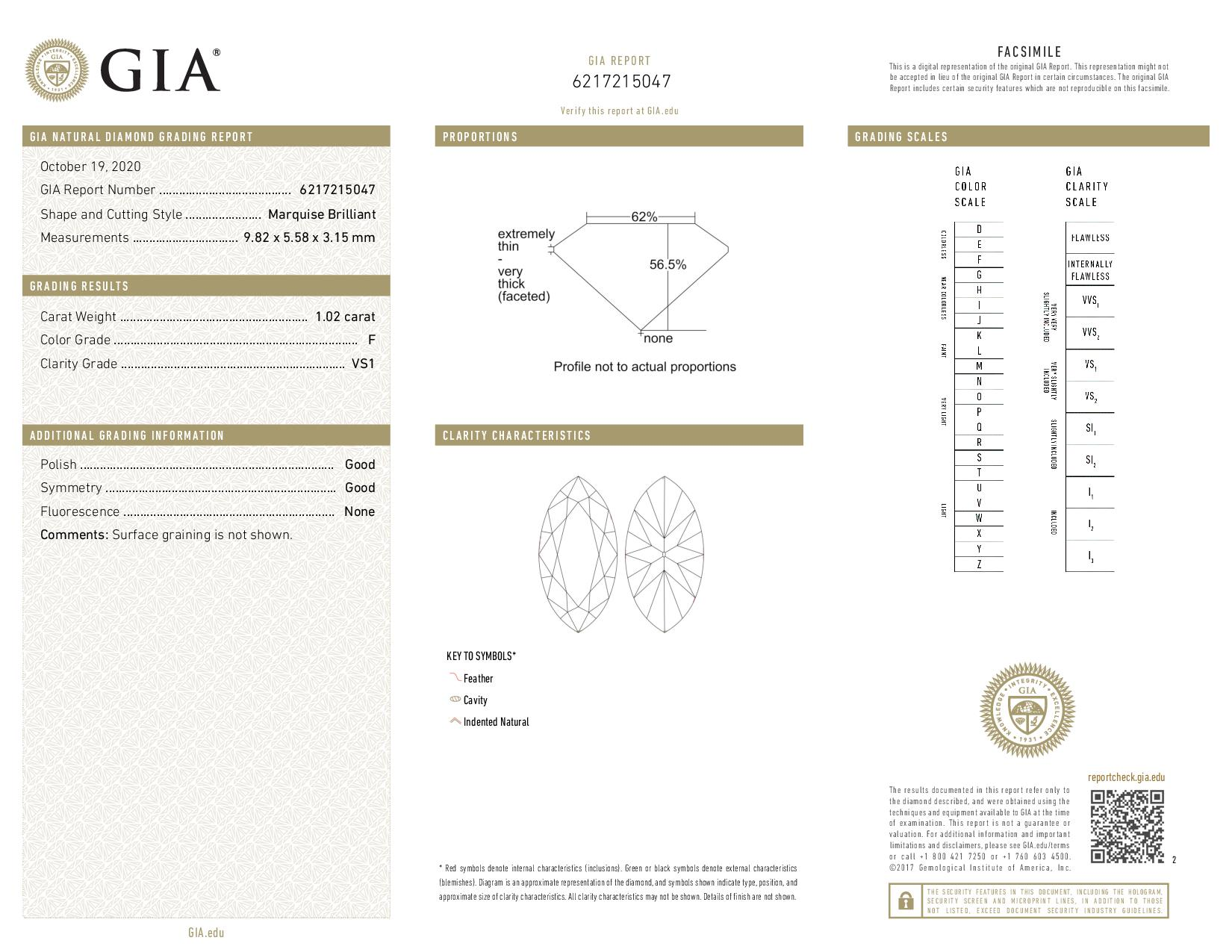 This is a 1.02 carat marquise shape, F color, VS1 clarity natural diamond accompanied by a GIA grading report.