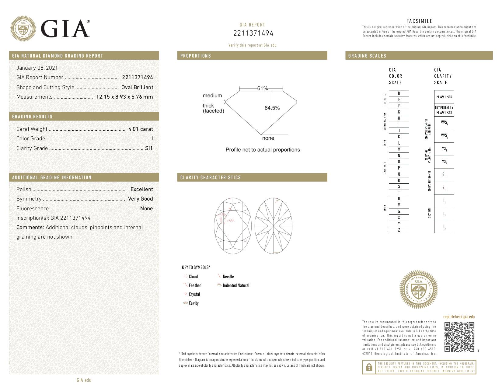 This is a 4.01 carat oval shape, I color, SI1 clarity natural diamond accompanied by a GIA grading report.