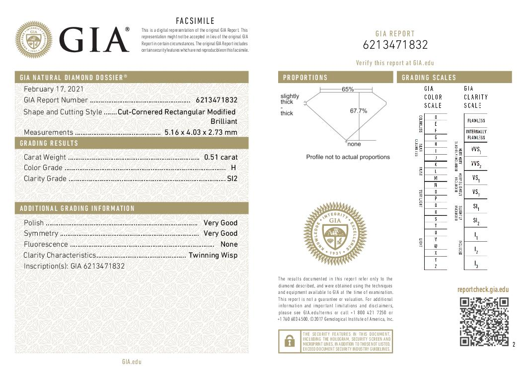 This is a 0.51 carat radiant shape, H color, SI2 clarity natural diamond accompanied by a GIA grading report.