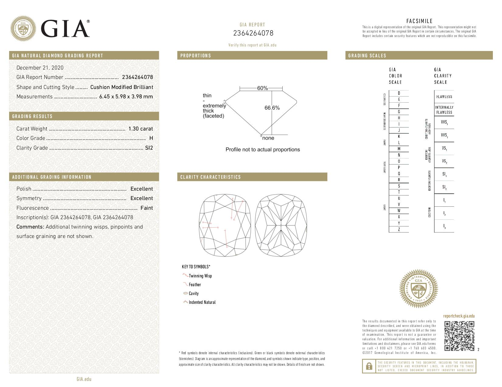 This is a 1.30 carat cushion shape, H color, SI2 clarity natural diamond accompanied by a GIA grading report.