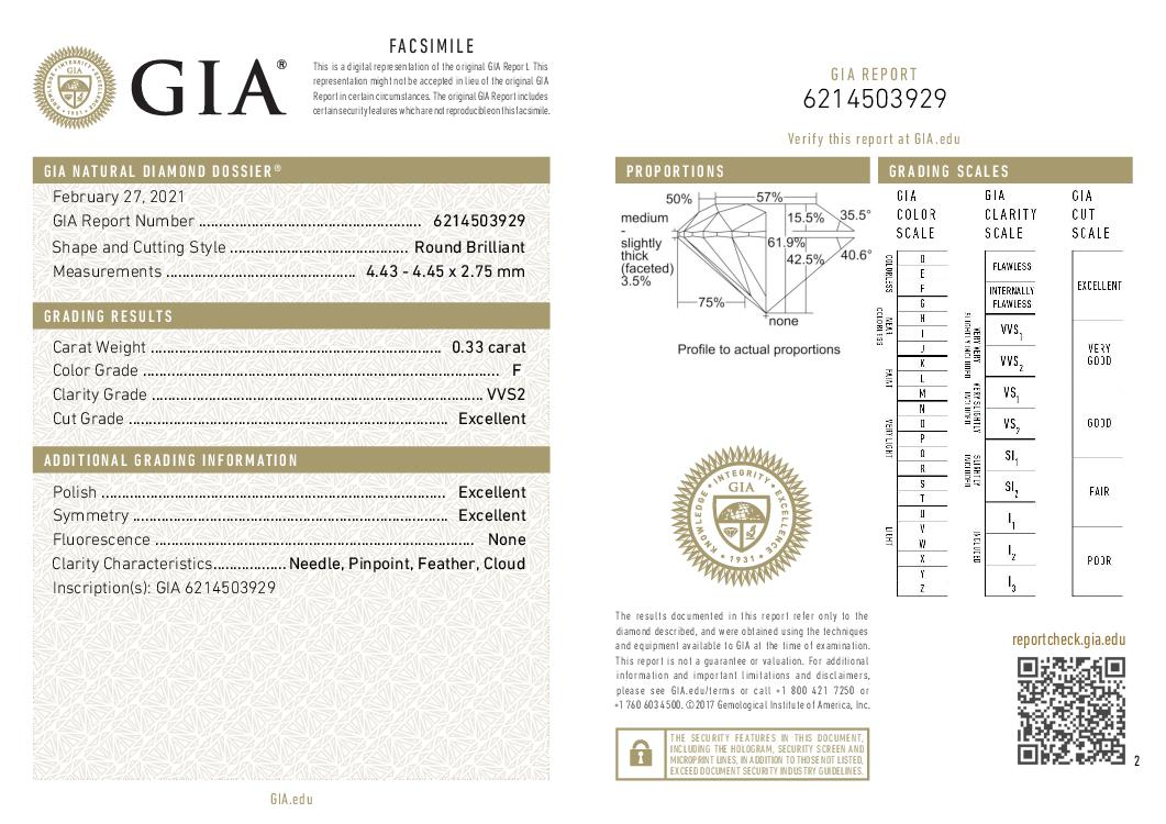 This is a 0.33 carat round shape, F color, VVS2 clarity natural diamond accompanied by a GIA grading report.