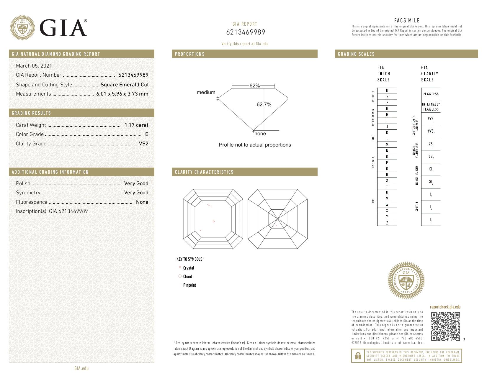 This is a 1.17 carat asscher shape, E color, VS2 clarity natural diamond accompanied by a GIA grading report.