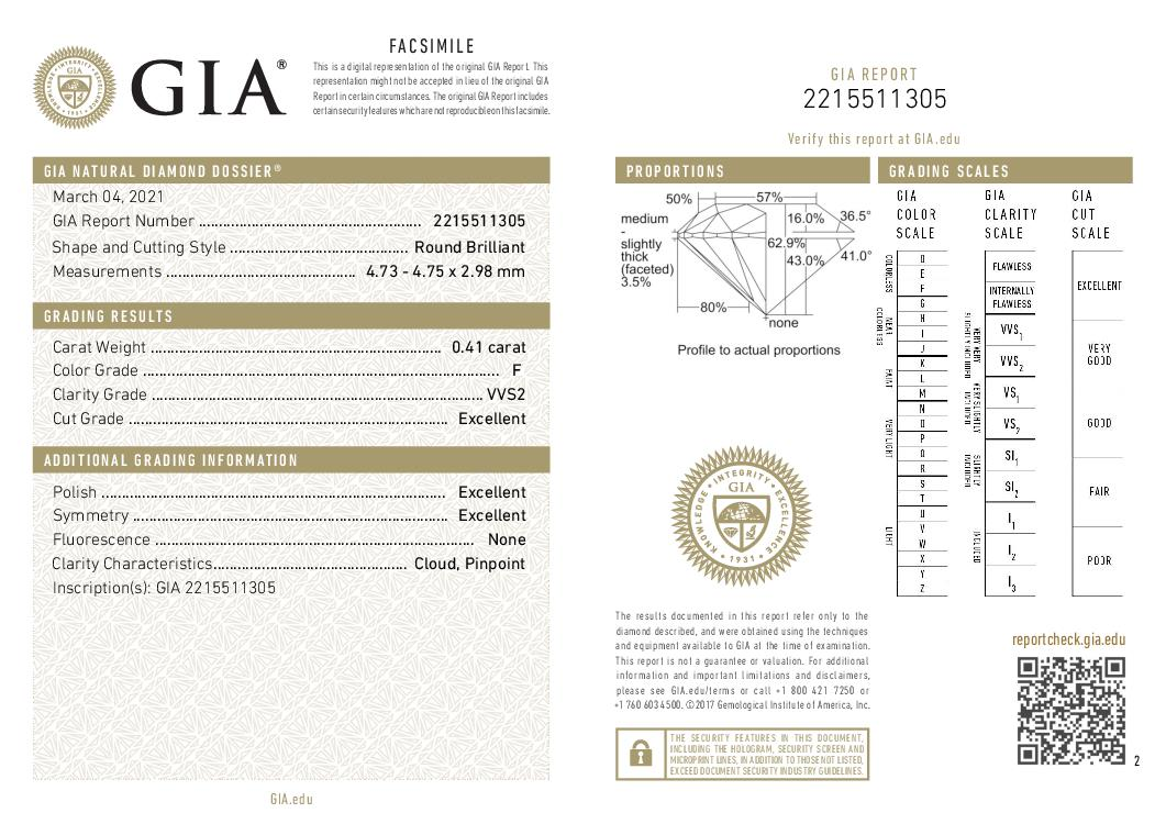 This is a 0.41 carat round shape, F color, VVS2 clarity natural diamond accompanied by a GIA grading report.