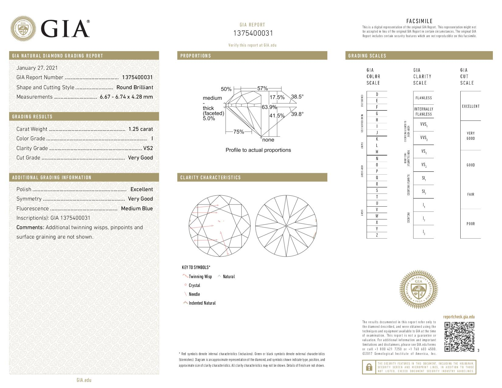 This is a 1.25 carat round shape, I color, VS2 clarity natural diamond accompanied by a GIA grading report.