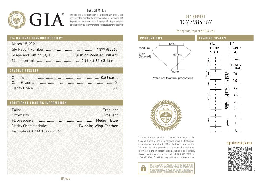 This is a 0.63 carat cushion shape, G color, SI1 clarity natural diamond accompanied by a GIA grading report.