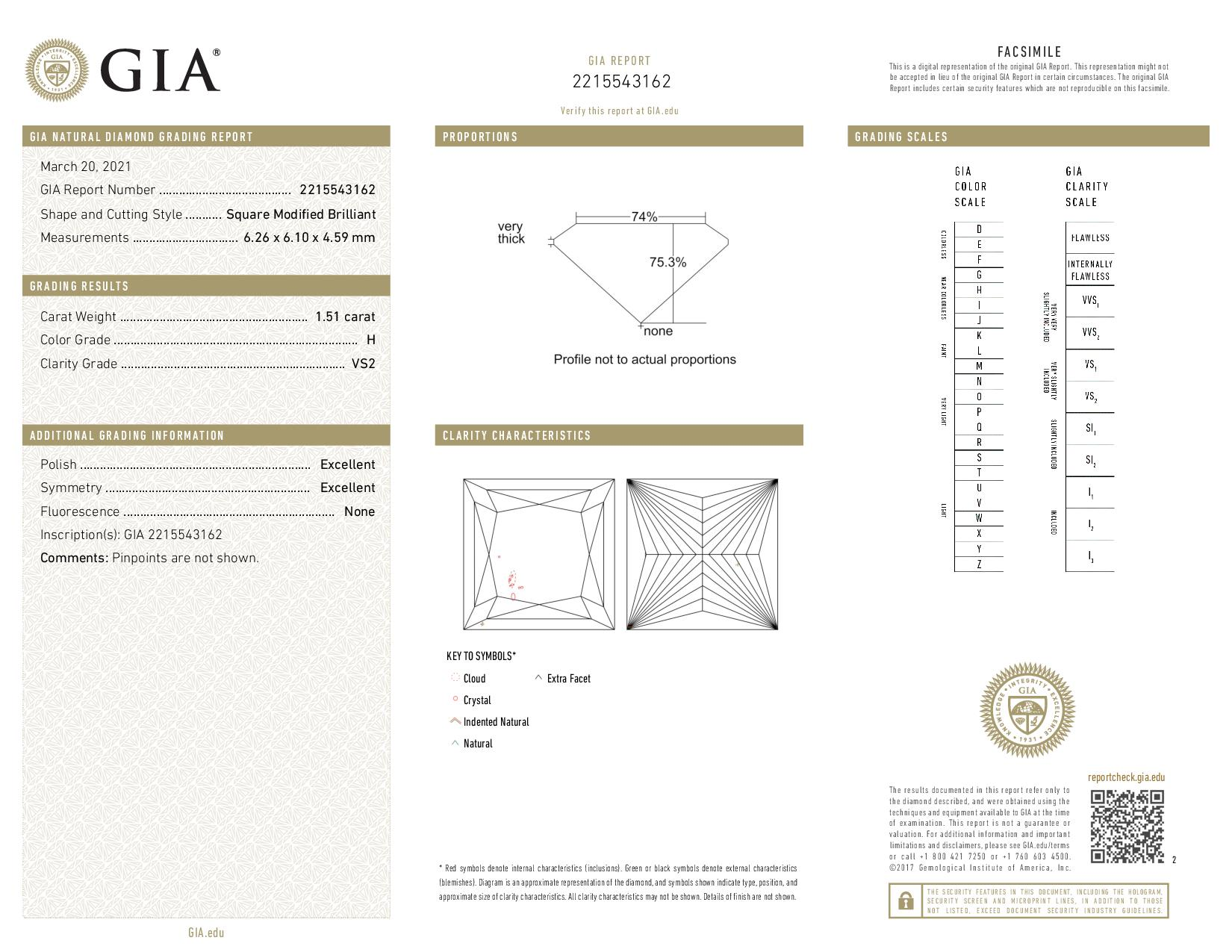 This is a 1.51 carat princess shape, H color, VS2 clarity natural diamond accompanied by a GIA grading report.