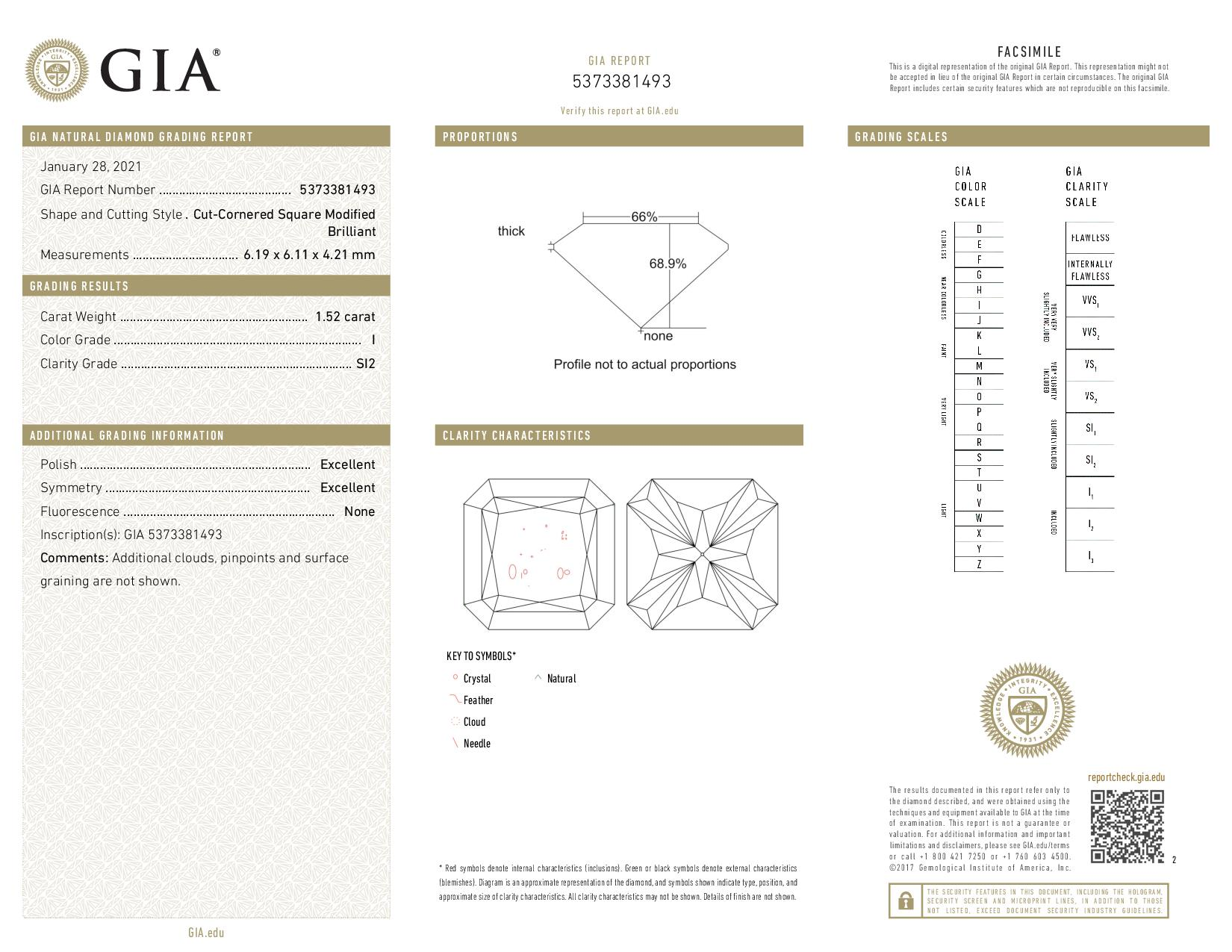 This is a 1.52 carat radiant shape, I color, SI2 clarity natural diamond accompanied by a GIA grading report.