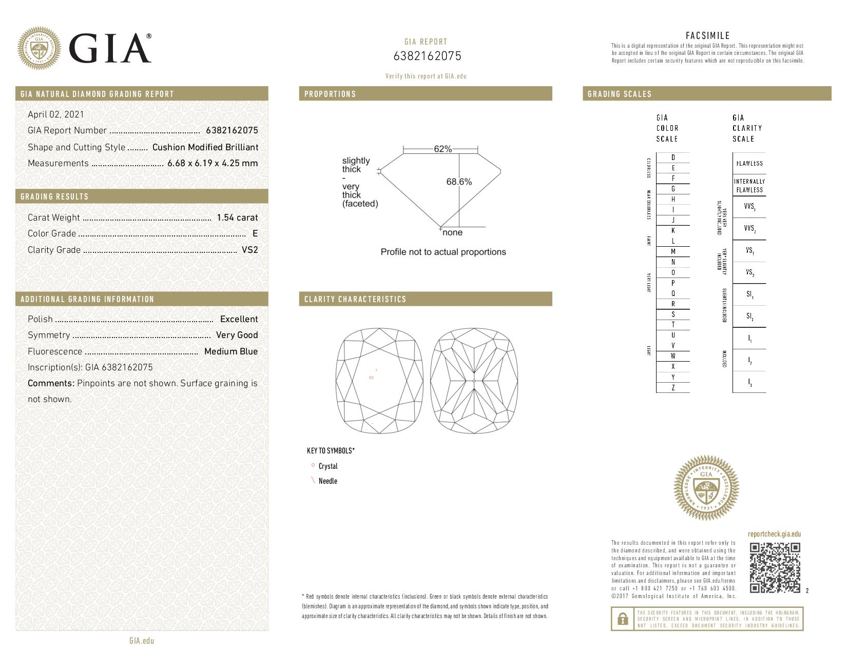 This is a 1.54 carat cushion shape, E color, VS2 clarity natural diamond accompanied by a GIA grading report.