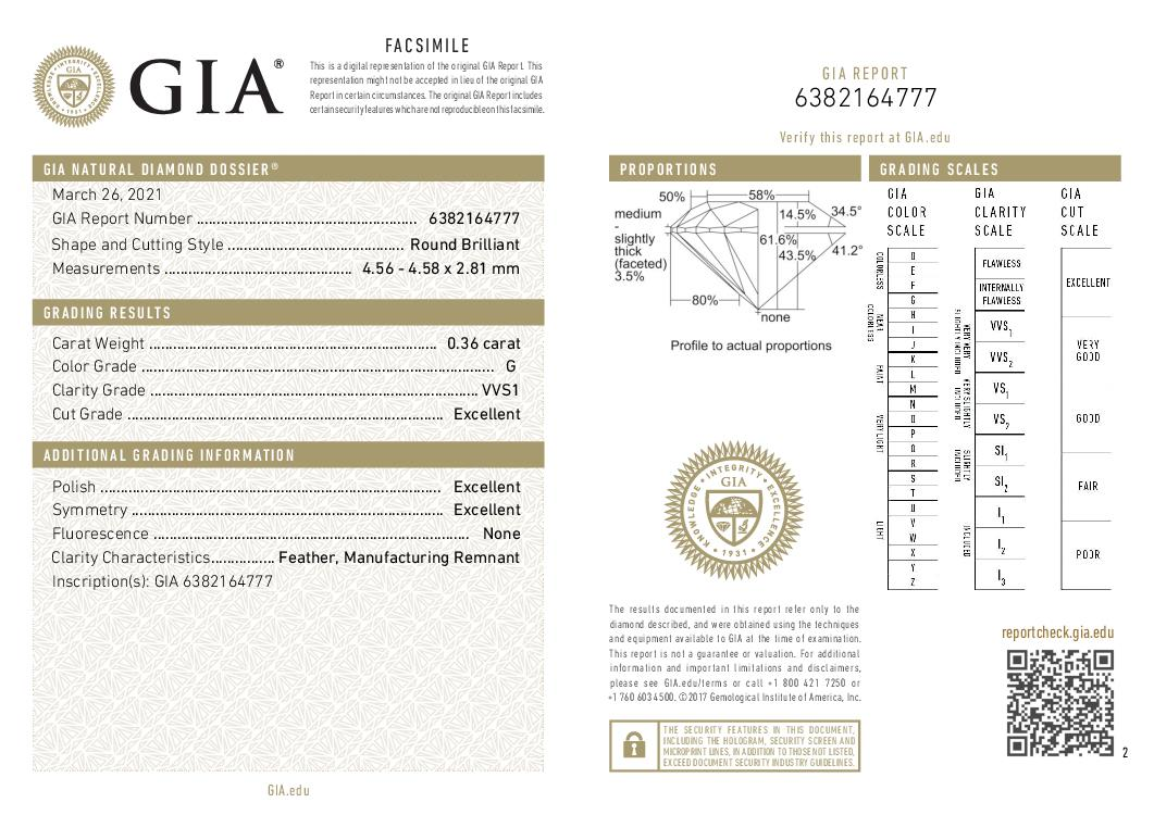 This is a 0.36 carat round shape, G color, VVS1 clarity natural diamond accompanied by a GIA grading report.
