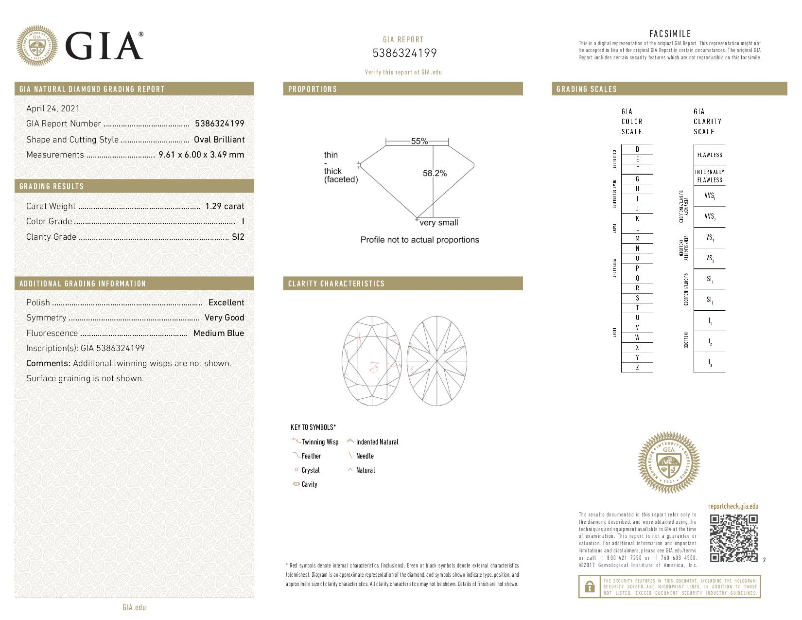 This is a 1.29 carat oval shape, I color, SI2 clarity natural diamond accompanied by a GIA grading report.