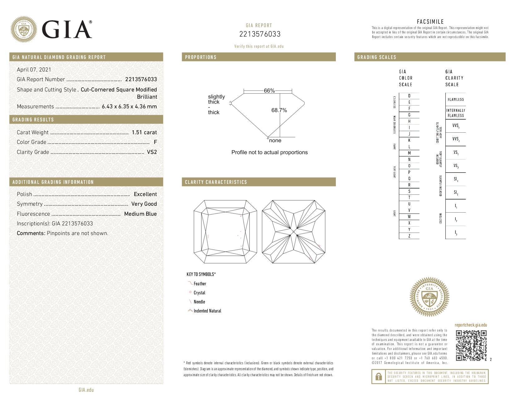 This is a 1.51 carat radiant shape, F color, VS2 clarity natural diamond accompanied by a GIA grading report.