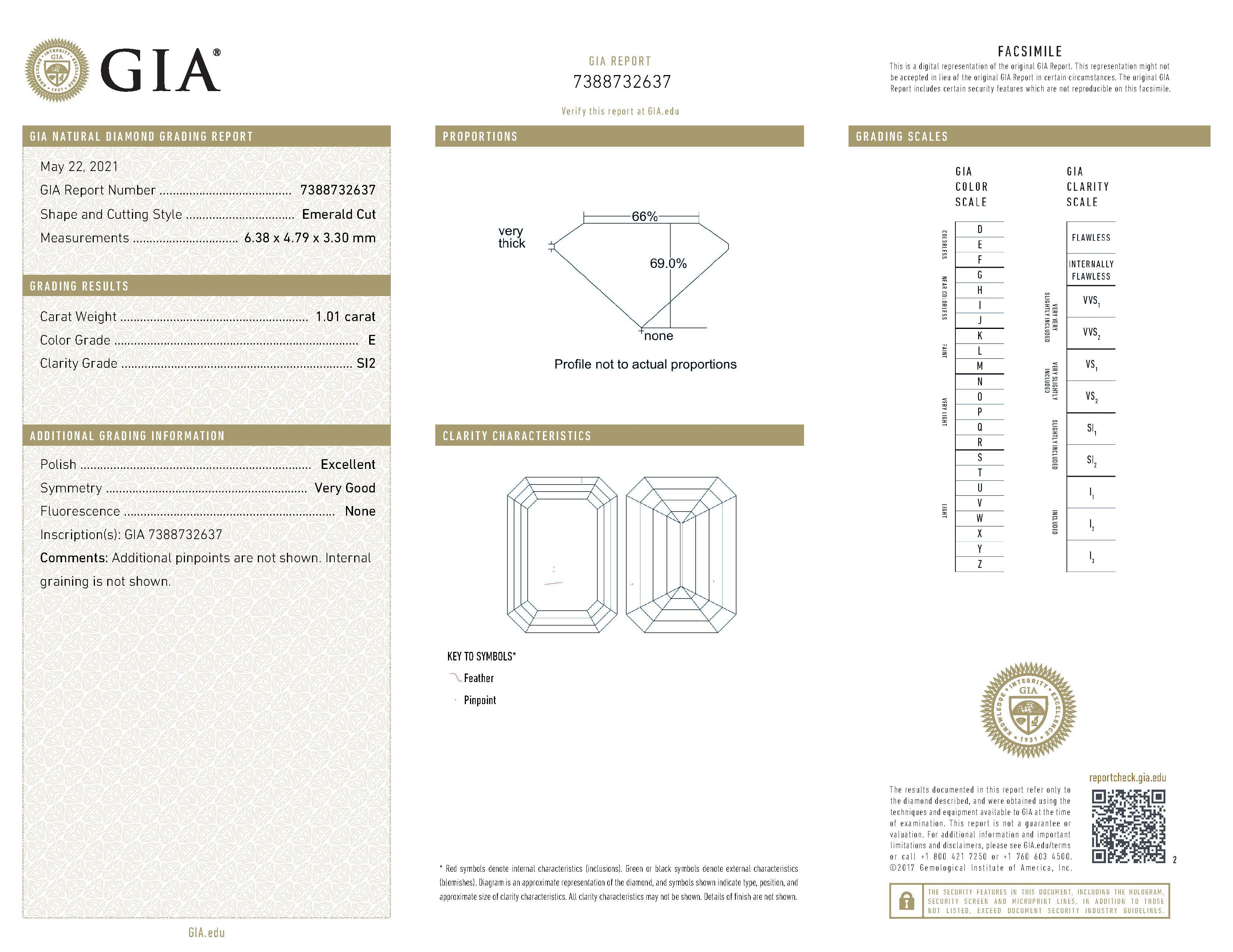 This is a 1.01 carat emerald shape, E color, SI2 clarity natural diamond accompanied by a GIA grading report.