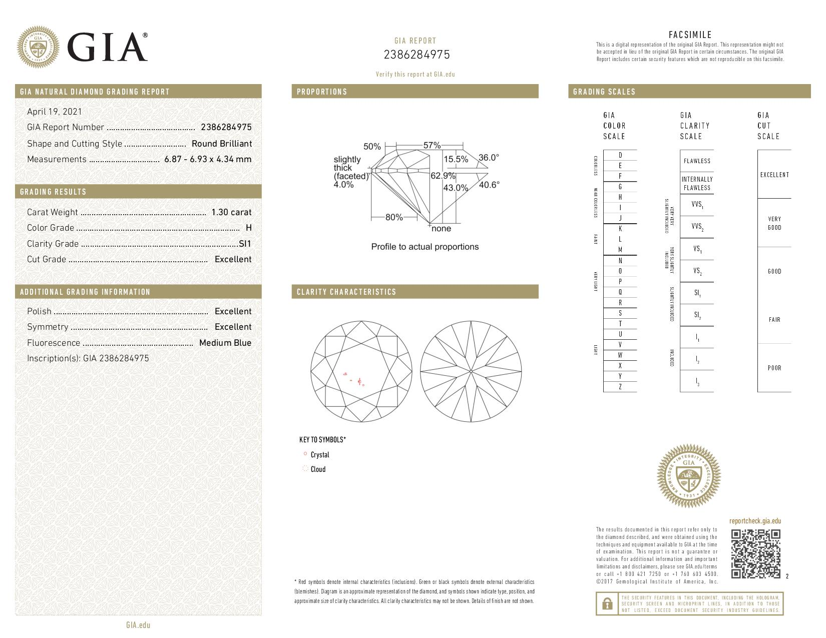 This is a 1.30 carat round shape, H color, SI1 clarity natural diamond accompanied by a GIA grading report.