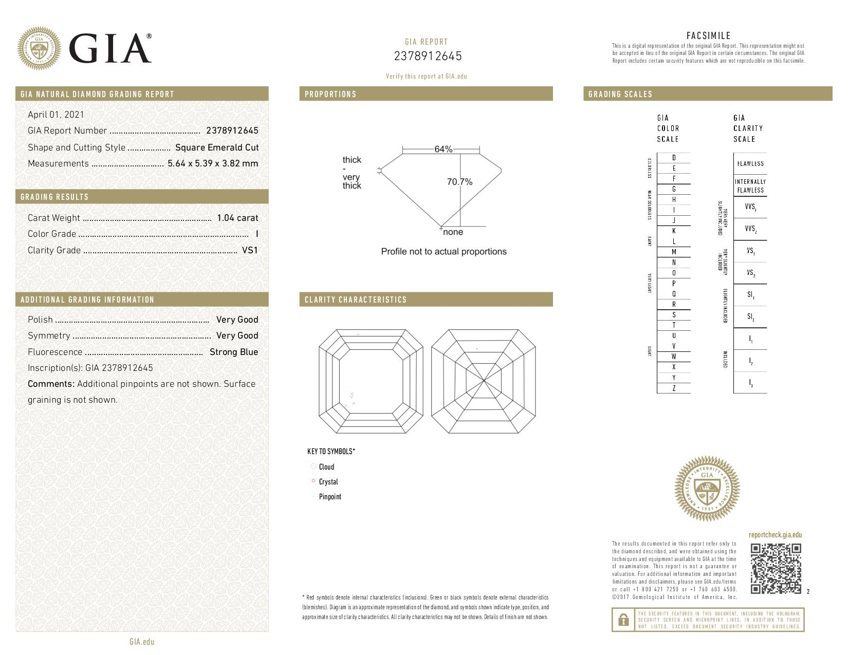 This is a 1.04 carat asscher shape, I color, VS1 clarity natural diamond accompanied by a GIA grading report.